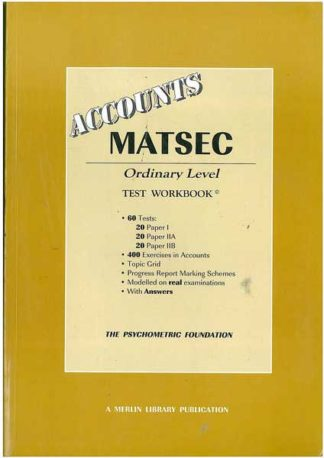 Matsec - Accounts Ordinary Level - test workbook