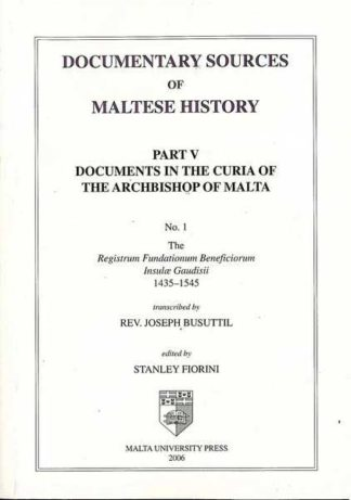 Documentary Sources of Maltese History Part V No 1