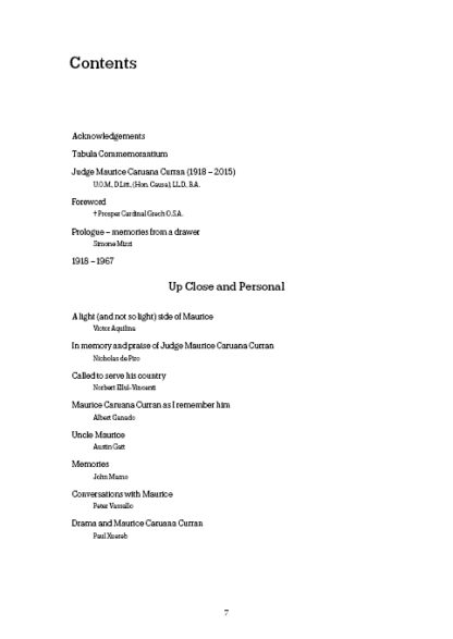 Maurice Caruana Curran table of contents